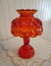 "Vintage L E Smith Moon And Stars Amberina Glass 3pc Fairy Light Lamp 9.5"" High"