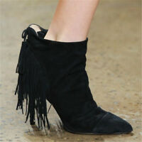 Fashion Women Tassel Ankle Boots Pointed Toe Suede Booties Elegant Shoes New