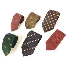#03 Mixed Lot of 6 Vintage Men's Green, Brown, Black, Tan Patterned Color Ties