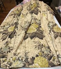Vintage Barkcloth Print Drapery panel Floral mustard brown black aqua gold 1940