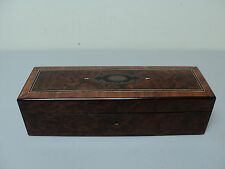 19th C. FRENCH NAPOLEAN III MARQUETRY INLAID WOOD JEWELRY BOX, SILK TUFTED
