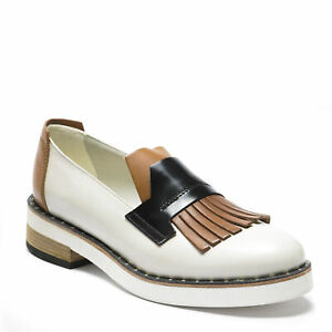 Vic Matie Women's loafers fringes shoes white tan and black leather US 9 - EU 39