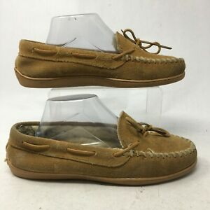 Minnetonka Womens 10 Moccasin Slippers Slip On Loafers Shoes Brown Suede Comfort