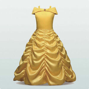 Kids Girls Princess Fancy Dress Up Cosplay Belle Costume Birthday Party Gifts UK