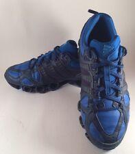 VINTAGE Adidas Bounce Scarpe Da Ginnastica Blu Nero Taglia 7.5 UK 3 Strisce Scarpe