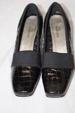 """ROS HOMMERSON Black Leather Shiny """"Croc"""" Heels Womens Size 6.5M-B1"""