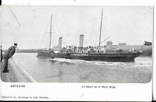 ww1 belgium military nautical postcard le depart de la malle belge