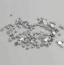 100pcs Metallic Silver Half Pearl Bead 8mm Scrapbook Craft Flat Back beads.