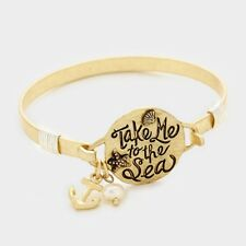 "8"" gold anchor charm quote bangle bracelet cuff boho take me to the sea"