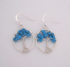 925 Sterling silver turquoise blue howlite chips TREE dangle earrings