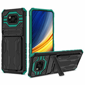 For Xiaomi POCO X3 NFC / X3 Pro Shockproof Armor Slide Card Slots Case Cover