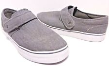 Lugz Size 12 Mens Deck Shoes Gray Canvas Hook Loop Closure Casual Loafers