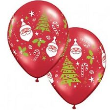 Santa, Candy Cane & Christmas Tree on Ruby Red 28cm Latex Balloon 2 for $1.50