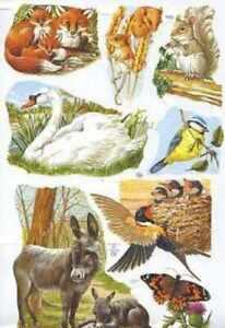 Victorian style decoupage scrap scrapbooking art projects Wild Animals Swan Fox