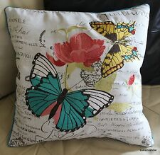 Butterfly Embroidered Pillow Cover Accent Decorative Designer Home Beautiful
