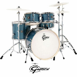 """Gretsch Energy 5pce Drum Kit Blue Sparkle 22"""" Rock with Hardware GE4E825BS"""