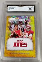 $100 2018 MAC JONES FIRST EVER GOLD CRACKED ICE ROOKIE CARD GMA GRADED 10 ALABAM