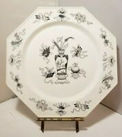 MINTON WOODSEAT PLATE Asian Black Vase  Design & Floral White Porcelain Octagon