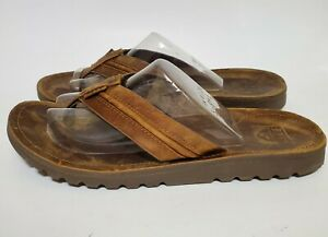 Reef Mens 9 Voyage Lux Swellular Brown Leather Flip Flops Thong Sandals Shoes