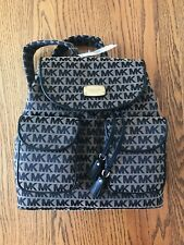 Michael Kors Jet Set Flap Back Pack Bge/Blk/Blk New