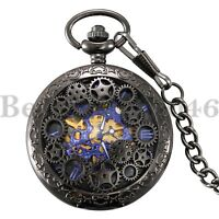 Vintage Steampunk Skeleton Mechanical Mens Womens Pocket Watch Windup Black Gift