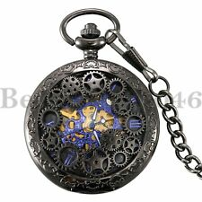 d434f1dd2ac Vintage Steampunk Skeleton Mechanical Mens Womens Pocket Watch Windup Black  Gift