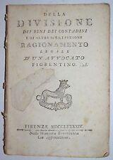 ECONOMIA AGRARIA - ediz. 1794 - divisione beni contadini - firenze - diritto