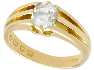 1.21 ct Diamond and 18k Yellow Gold Solitaire Ring - Antique 1909