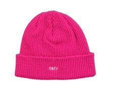 Obey HANGMAN BEANIE Hot Pink White Embroidery Logo Knit Cap Hat Beanie