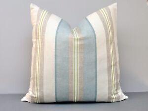 Jane Churchill Designer Cushion Cover Aston Stripe 'Aqua' Duck Egg Blue 50x50cm