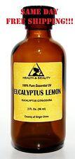 EUCALYPTUS LEMON ESSENTIAL OIL by H&B Oils Center AROMA GLASS BOTTLE 2 OZ, 59 ml