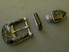 Jet sterling silver ranger set / buckle set. signed S & D GOODY, Zuni