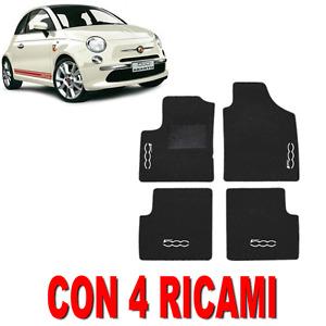 TAPPETINI PER AUTO SU MISURA PER FIAT 500 2007> IN MOQUETTE E GOMMA CON 4 RICAMI