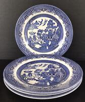 "Churchill England Blue Willow Dinner Plates 10 1/4"" Set Of 4"