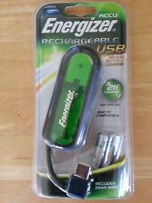 NEW ENERGIZER RECHARGEABLE USB AA/AAA BATTERY CHARGER + 2 AAA BATTERIES