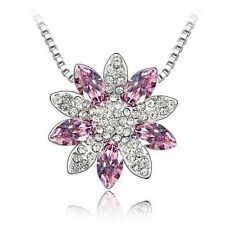 GORGEOUS 18K WHITE GOLD PLATED GENUINE PURPLE CUBIC ZIRCONIA FLOWER NECKLACE