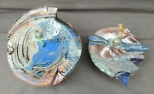 Pair Of Modernist Abstract Art Pottery Sculptures Artist Signed