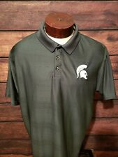 Michigan State Spartans Mens XL Extra Large Green Short Sleeve Golf Polo...
