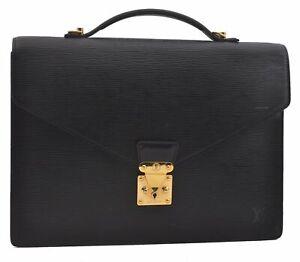 Authentic Louis Vuitton Epi Porte Documents Bandouliere Briefcase Black LV B5257