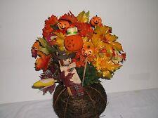 Fall Or Thanksgiving Table Centerpiece Silk Flower  Rattan Base
