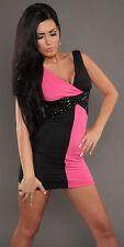 Sexy Size Medium Ladies Pink & Black Bodycon Club Wear Mini Dress!! New!