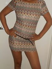 NEW-SEXY-ANI-MINI-DRESS-TANK-PARTY-LOW CUT-SCOOP NECK-FITTED-AZTEC-HIPPY-BELT-S
