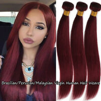 "Peruvian Straight Virgin Human Hair 3Bundles Weave #99J Wine Red Burgundy 8""-24"""