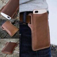 Men Phone Belt Bag Loop Waist Sheath Holster Pouch Case Genuine Leather New