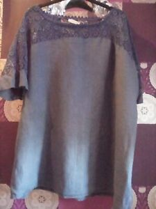 .MADE IN ITALY LINEN  BLUE  CROCHET DETAIL SUMMER BOHO TUNIC TOP SIZE 22