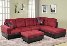 Beverly Fine Furniture F104B Andes Microfiber with Faux Leather Sofa Set with...