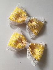 Pair Of Yellow Butter Lace Ribbon Hair Clip/ Girls Accecories/alligator Clip