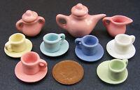 1:12 Scale Ceramic 15 Piece Multi Coloured Dolls House Miniature Tea Set 2182