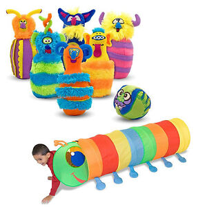 Melissa & Doug Happy Giddy Crawl Tunnel with Monster Plush Bowling Game