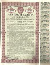 Paraguay Gold Internal loan 1935 Bond 1939 Public Debt $50 Uncancelled coupons